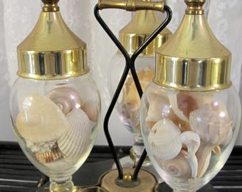 Vintage 60's bar accessory, gold tone apothecary jars