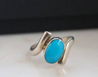 Turquoise Sterling Ring - Mexico Sterling ring - Size 8 ring