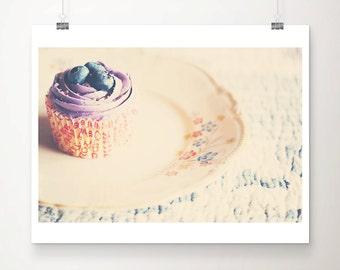 SALE cupcake photography, food photography, kitchen wall art, blueberry cake, bakery decor, still life photograph, cake print