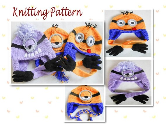Knitting Pattern Minion Hat Pattern Minion Hat Animal Hat
