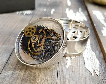 Metal Herb Grinder -Steampunk Golden Dragon GoT Spice Crusher -Tobacco Fine herb weed grinder-Amazing pocket size stoner gift 4:20 girls boy