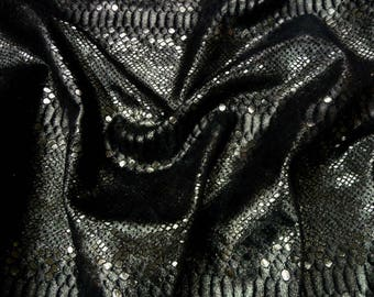 Metallic Leather 3 - 5 sq ft  MYSTIC Anthracite on Black Cowhide 3-3.5 oz / 1.2-1.4 mm PeggySueAlso™ E2868-39 Full hides available