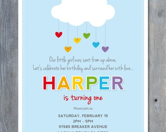 "RAINBOW Party Invitation - Printable File - Personalized - 7""x5"" - Print Your Own - DIY"