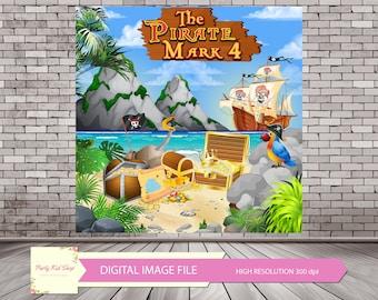 Pirates Digital Backdrop, Pirates Birthday, Pirates Party, Treasures Backdrop, Pirate Poster, Pirate Theme, Pirate Decor *DIGITAL IMAGE FILE