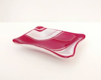 Fused Glass Trinket Dish, Red and White, Tea Bag Rest, Spoon Rest, Ring Dish, Jewelry Dish, Sauce Dish, Soap Dish, Bathroom Decor, Christmas