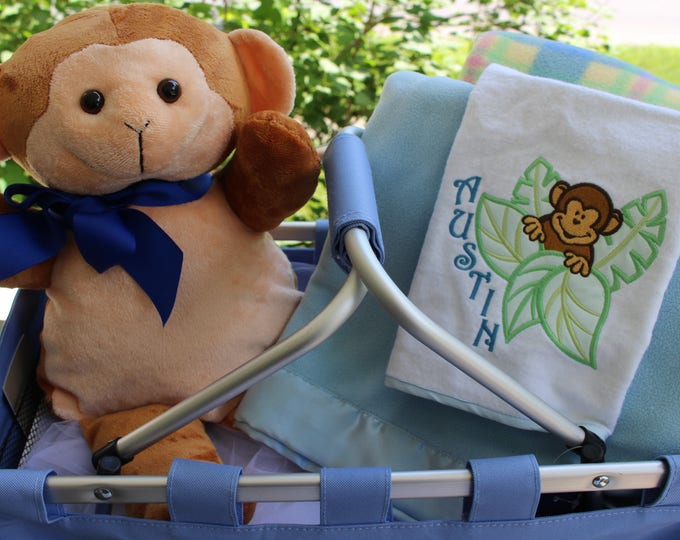 Personalized  Little Monkey Baby Gift Set, Personalized Baby Blanket, Personalized Plush Toy, Embroidered Baby Gifts, Newborn Gifts