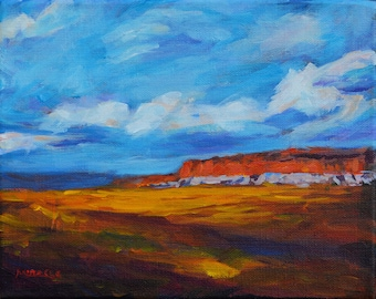 New Mexico Landscape III, big sky, original painting, bright colors, desert, southwest, canvas, Kit Miracle, red butte, blue sky, clouds