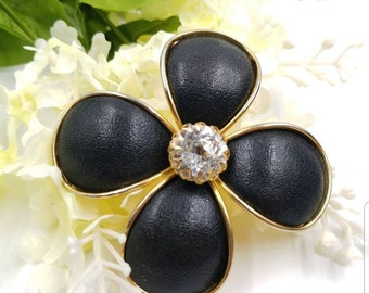 Vintage 1950's Signed Hattie Carnegie Black Flower Brooch with Clear Rhinestone, Flower Jewelry