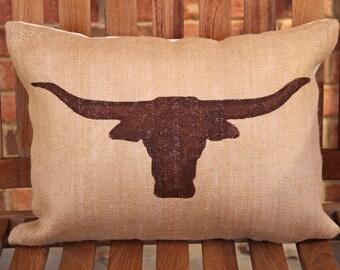 Hand Painted Longhorn Bull Head on Burlap Pillow Cover