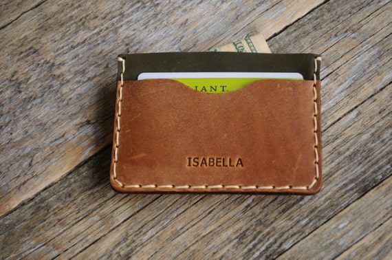 PERSONALIZED Tan Brown and Dark Green Leather Wallet. Credit Card, Cash or ID Holder. Unique Unisex Pouch.