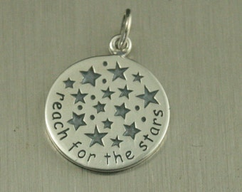 Sterling Silver Reach For the Stars Charm--Circle Pendant--Graduation Gift--Saying Pendant--Journey Charm--Guidance Pendant--Child Charm