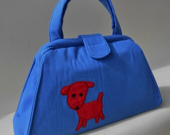 Dog Applique Royal Blue Handbag