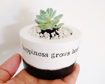"New mum mothers day gift, Succulent, Cactus, Vase, Planter, Pot quote ""happiness grows here"", inspiring family gift, home decor, plant lover"