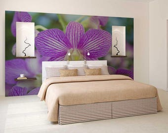 Wall Mural Floral, Wall Mural Of Orchid, Purple Orchid Wallpaper, Orchid Wall Covering