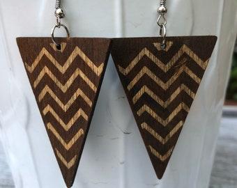 Triangle Earrings, Wooden Earrings, Geometric Earrings, African Earrings, Gift for Girlfriend, Walnut Earrings, Dangle Earrings