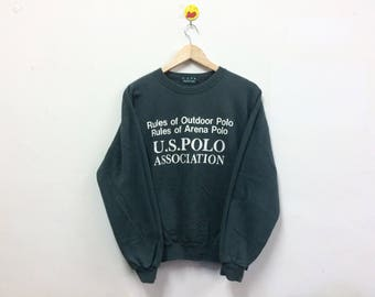 Rare!!! U.S Polo Association Sweatshirt Crewneck Spellout Dark Green