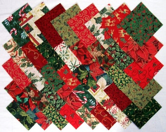 CHRISTMAS TRADITIONAL Prints 100% cotton Prewashed 4 inch Quilt Block Fabric Squares (#D/85A)
