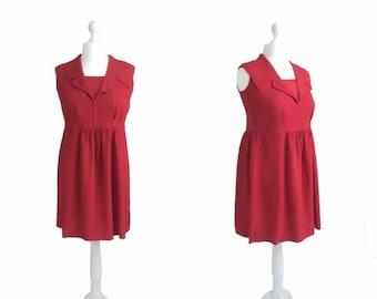 Reduced Vintage Red Dress - 1940s 1950s - Vintage Dress - Sleeveless Crepe Dress - EWA Metal Zipper - Shawl Collar Dress
