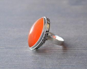 Rich Orange Carnelian Ring // Carnelian Jewelry // Sterling Silver // Village Silversmith