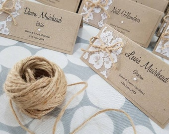 Rustic Lace personalised place cards wedding stationery kraft and jute twine