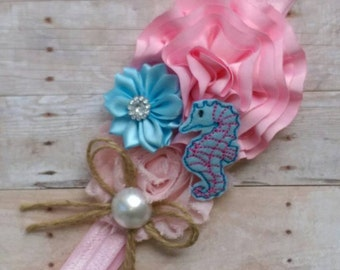 Blue and Pink Sea Horse Headband