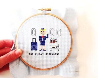 Completed needlepoint. Framed needlepoint flight attendant. Custom Cross Stitch portrait. Gift for flight attendant