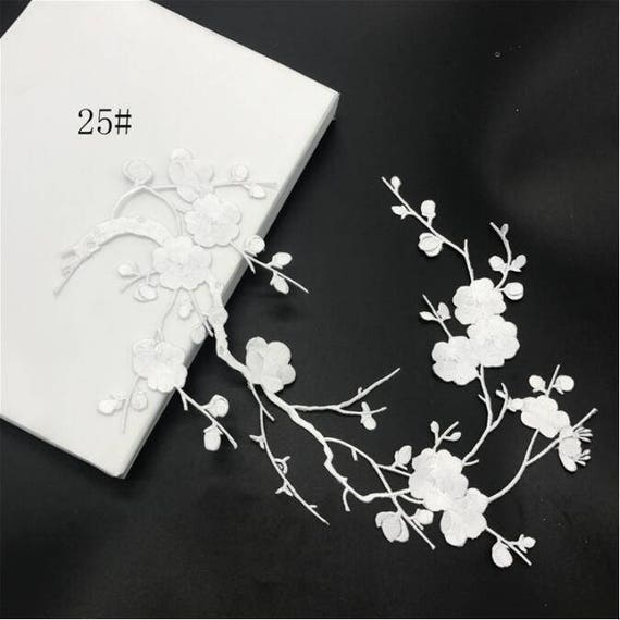 White plum blossom flower applique clothing embroidery patch like this item mightylinksfo Choice Image