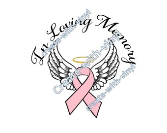CANCER in MEMORY of SVG file - Cameo, Cricut, Embroidery svg files, memorial decal, sublimation, cancer ribbon, breast cancer