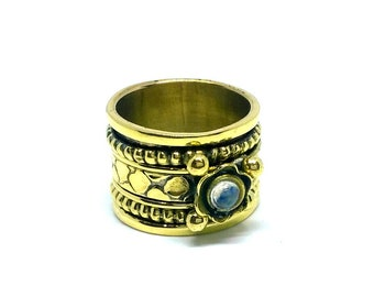 Indian Handmade Ring/ Gold Color Ring / Spinner Ring / Rainbow Ring