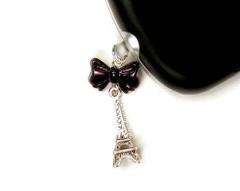 Eiffel Tower Charm Cell Phone Charms Dust Plug Strap Black Bow Planner Accessories - You Choose