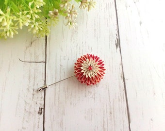 Flower lapel pin for men and women, Boutonniere brooch, Kanzashi flower brooch, Red white chrysanthemum lapel pin, Scarf pin, Stick pin