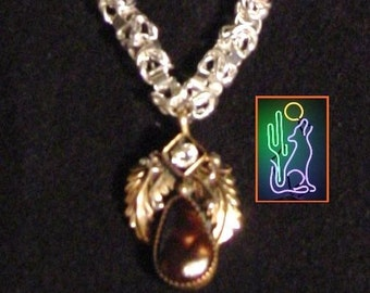 Tigereye Fossil and Zirconia Sculpted Gold and Sterling Silver Leaf Cabochen Pendant 21 Inch Sterling Entwined Link Chain