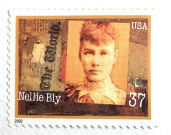 5 Vintage Nellie Bly Postage Stamps // Victorian Era Newspaper Reporter // Stamps for Mailing