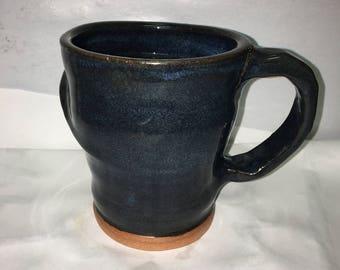 Handmade 10oz blue coffee mug