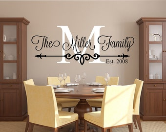 Family Name Wall Decal - Personalized Family Monogram - Living Room Decor - Established Date Vinyl Wall Decal : wall vinyl decal - www.pureclipart.com