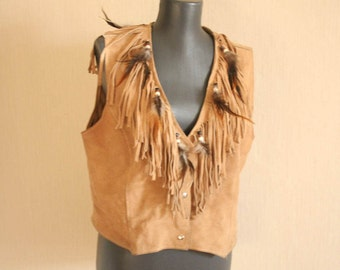 HB suede vest  BOHO vest Native  American Indians vest Festival fringe feathers vest Hippie  Bohemian vest  Vintage Southvest  WESTERN cloth