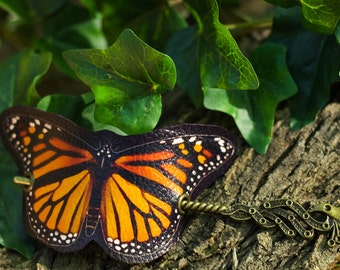 Monarch Butterfly Hair Barrette in Vegan Leather