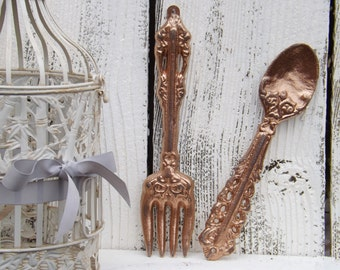 Copper Fork and Spoon Decor/ Copper / Decorative Fork Spoon / Shabby Chic Kitchen Wall Decor