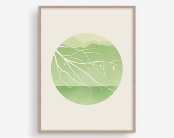 Nature Print, Scandinavian Print, Wall Art Bedroom, Tree Print, Mid Century Modern, Wall Decor Living Room, Landscape Print, Green Wall Art