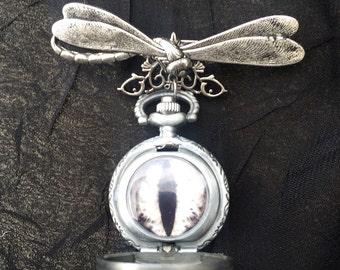 Steampunk Pocket Watch Brooch, Dragon Eye Brooch, Steampunk Brooch, Pocket Watch