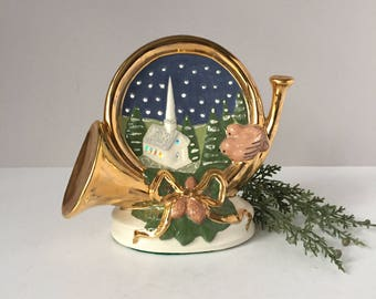 Large Christmas Nightlight, Horn Votive Holder, Ceramic Church in Winter, Vintage Holiday Decor