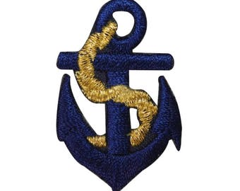 ID 2683 Navy Anchor Patch Boating Symbol Sail Boat Embroidered Iron On Applique