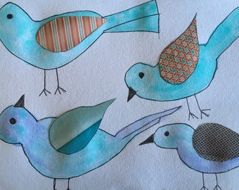 Water colour flock of birds