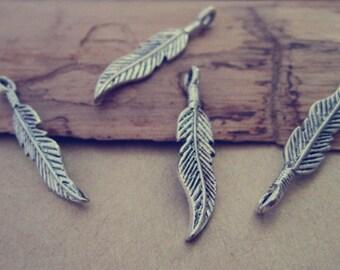 20pcs Antique silver leaf charm pendant  6mmx30mm