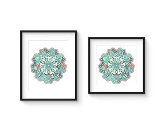 TILE no.44 - Abstract Modern Geometric Turkish Style Tile Art Print