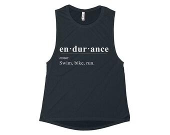 WomenS Endurance Triathlon Flowy Scoop Muscle Tank