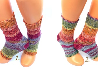 Multicolor Yoga Socks with Heel Hand Knit Rainbow Womens Yoga Socks Girls Summer Socks Dance Socks Pilates Socks Pedicure Socks Feet Warmers