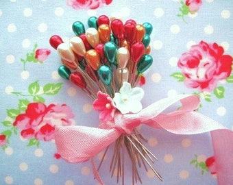 Corsage Pins - Teardrop Christmas Pearl - Set of 20