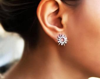 Spike earrings, gold spike studs, starburst stud earrings, cz diamond stud, dainty earrings, stud earrings, dainty studs, spike earrings