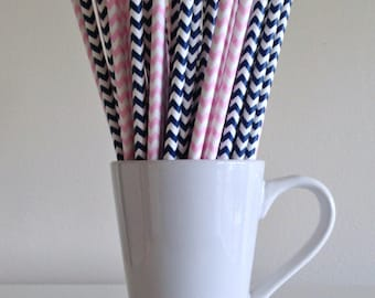 Pink and Navy Paper Straws Light Pink and Navy Blue Chevron Gender Reveal Party Supplies Party Decor Bar Cart Cake Pop Sticks Graduation